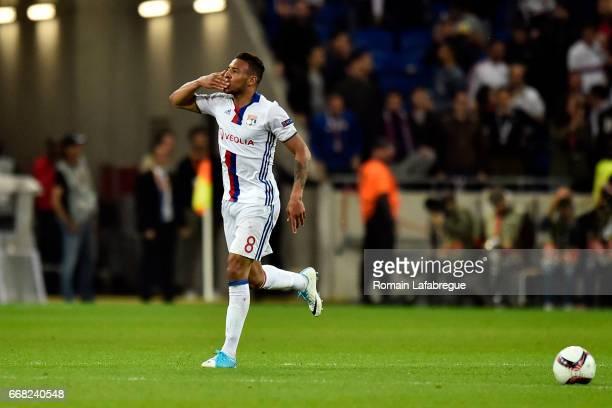 Corentin Tolisso of Lyon during the Uefa Europa League quarter final first leg match between Olympique Lyonnais Lyon and Besiktas at Stade des...