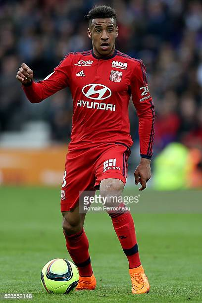Corentin Tolisso of Lyon in action during the French Ligue 1 match between Toulouse and Lyon at Stadium Municipal on April 23 2016 in Toulouse France