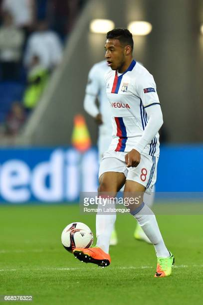Corentin Tolisso of Lyon Oguzhan Ozyakup of Besiktas during the Uefa Europa League quarter final first leg match between Olympique Lyonnais Lyon and...