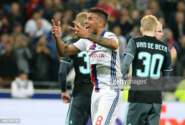 Corentin Tolisso of Lyon reacts during the UEFA Europa League semi final second leg match between Olympique Lyonnais and Ajax Amsterdam at Parc OL on...