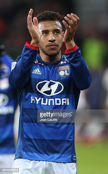 Corentin Tolisso of Lyon thanks the fans following the French Ligue 1 match between Lille OSC and Olympique Lyonnais at Stade PierreMauroy on...