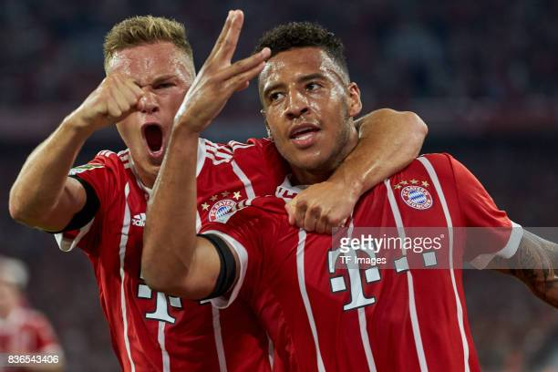 Corentin Tolisso of Muenchen celebrates after scoring his team`s second goal with Joshua Kimmich of Muenchen during the Bundesliga match between FC...