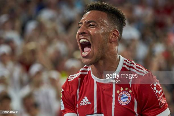Corentin Tolisso of Muenchen celebrates after scoring his team`s second goal during the Bundesliga match between FC Bayern Muenchen and Bayer 04...