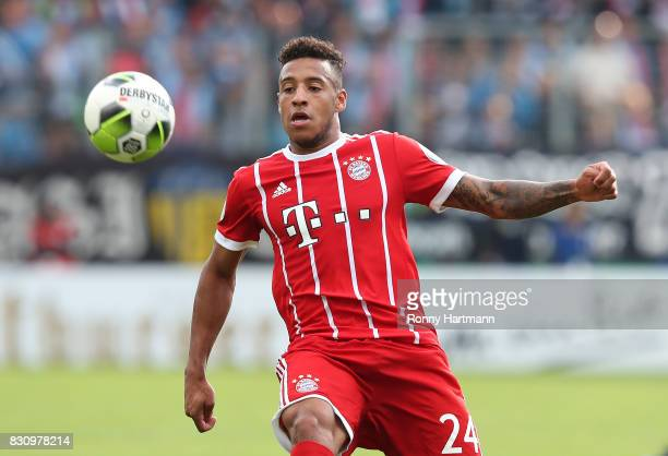 Corentin Tolisso of Muenchen focusses the ball during the DFB Cup first round match between Chemnitzer FC and FC Bayern Muenchen at community4you...