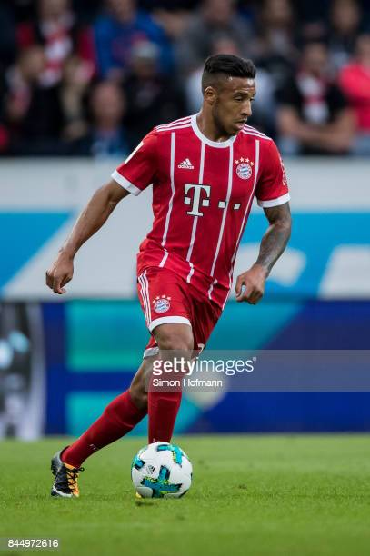 Corentin Tolisso of Muenchen in action during the Bundesliga match between TSG 1899 Hoffenheim and FC Bayern Muenchen at Wirsol RheinNeckarArena on...