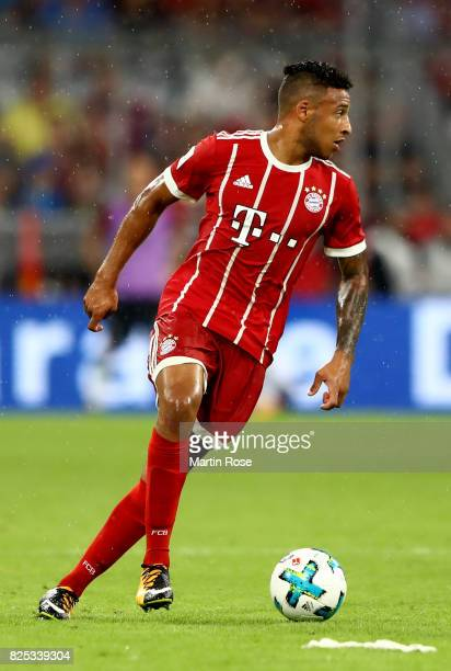 Corentin Tolisso of Muenchen runs with the ball during the Audi Cup 2017 match between Bayern Muenchen and Liverpool FC at Allianz Arena on August 1...