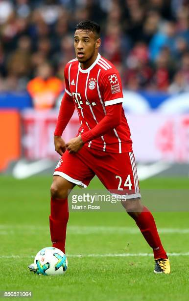 Corentin Tolisso of Muenchen runs with the ball during the Bundesliga match between Hertha BSC and FC Bayern Muenchen at Olympiastadion on October 1...