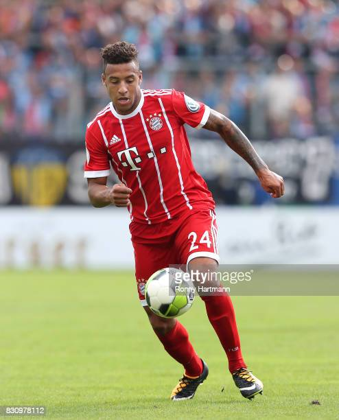 Corentin Tolisso of Muenchen runs with the ball during the DFB Cup first round match between Chemnitzer FC and FC Bayern Muenchen at community4you...