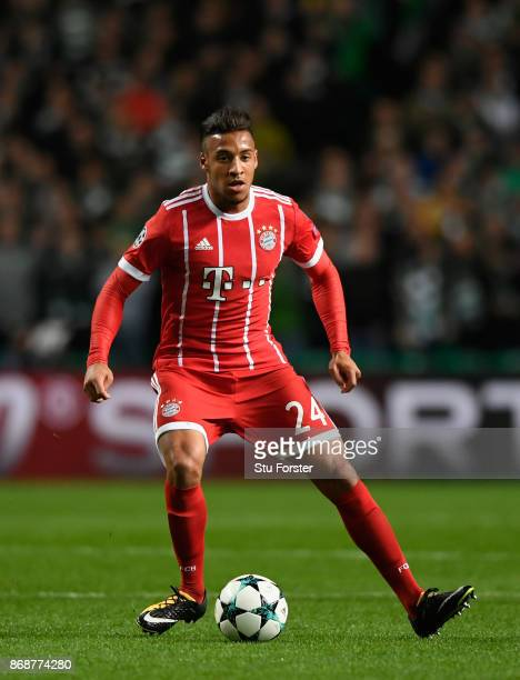 Corentin Tolisso of Munich in action during the UEFA Champions League group B match between Celtic FC and Bayern Muenchen at Celtic Park on October...