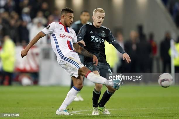 Corentin Tolisso of Olympique Lyonnais Donny van de Beek of Ajaxduring the UEFA Europa League semi final match between Olympique Lyonnais and Ajax...