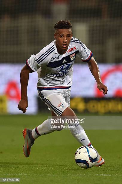 Corentin Tolisso of Olympique Lyonnais in action during the preseason friendly match between Olympique Lyonnais and AC MIlan at Gerland Stadium on...