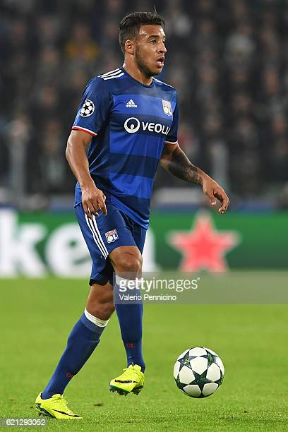 Corentin Tolisso of Olympique Lyonnais in action during the UEFA Champions League Group H match between Juventus and Olympique Lyonnais at Juventus...