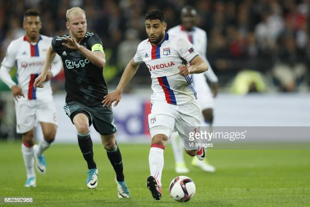 Corentin Tolisso of Olympique Lyonnais j10 Nabil Fekir of Olympique Lyonnaisduring the UEFA Europa League semi final match between Olympique Lyonnais...