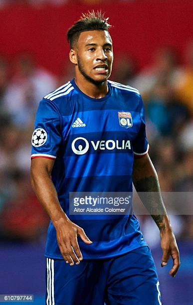 Corentin Tolisso of Olympique Lyonnais looks onduring the UEFA Champions League match between Sevilla FC and Olympique Lyonnais at Sanchez Pizjuan...