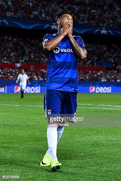 Corentin Tolisso of Olympique Lyonnais reacts after missing a chance to score during the UEFA Champions League Group H match between Sevilla FC and...