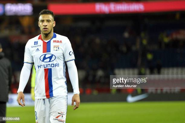 Corentin Tolisso of Olympique Lyonnais reacts during the French Ligue 1 match between Paris Saint Germain and Olympique Lyonnais at Parc des Princes...