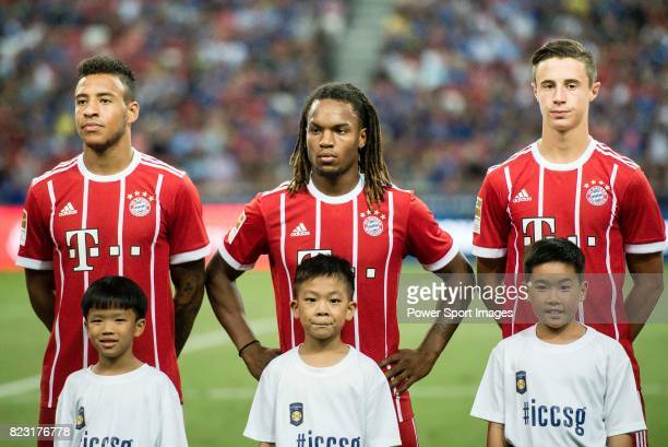 Corentin Tolisso Renato Sanches and Marco Friedl during the International Champions Cup match between Chelsea FC and FC Bayern Munich at National...