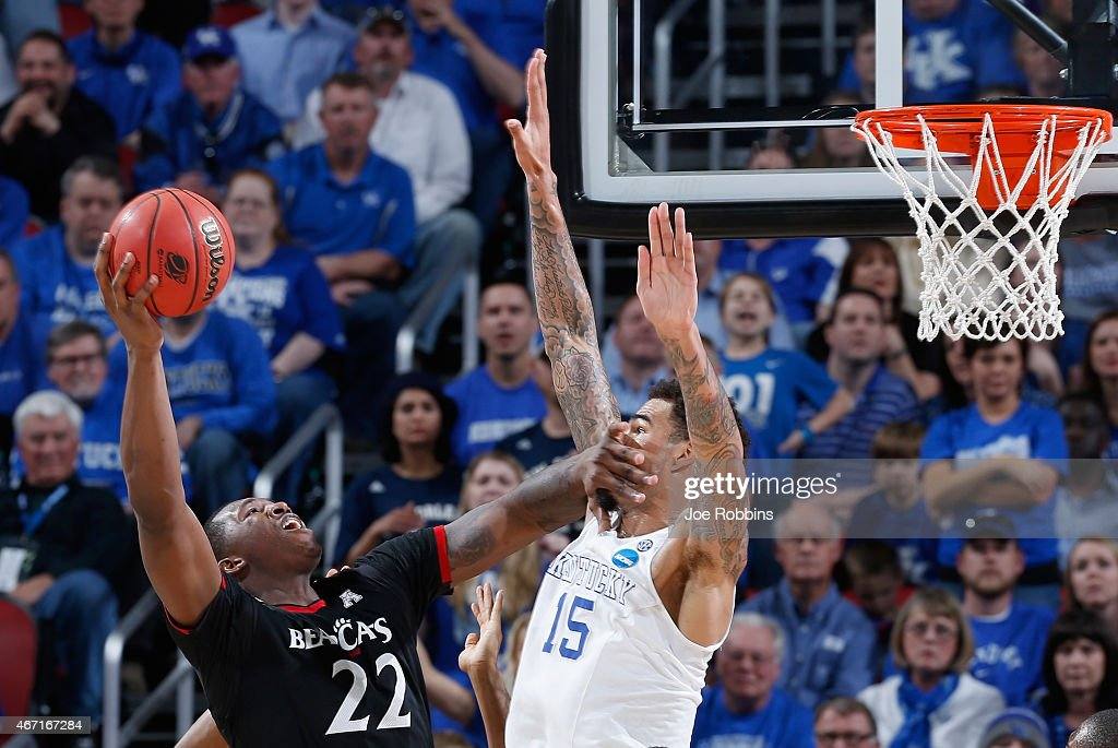 Coreontae DeBerry #22 of the Cincinnati Bearcats goes to the basket against <a gi-track='captionPersonalityLinkClicked' href=/galleries/search?phrase=Willie+Cauley-Stein&family=editorial&specificpeople=9854040 ng-click='$event.stopPropagation()'>Willie Cauley-Stein</a> #15 of the Kentucky Wildcats during the third round of the 2015 NCAA Men's Basketball Tournament at KFC YUM! Center on March 21, 2015 in Louisville, Kentucky.