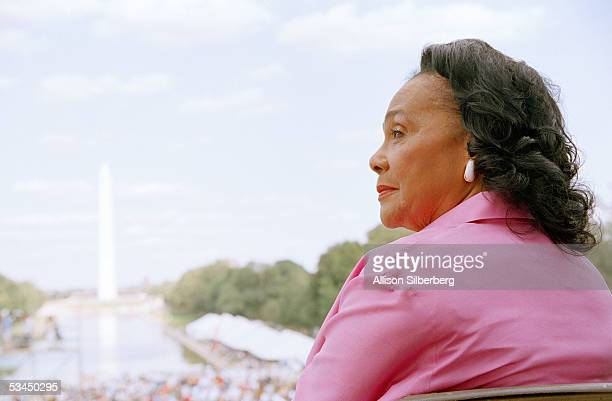 Coretta Scott King attends a ceremony dedicating an engraved marker in honor of Dr Martin Luther King Jr's 'I Have a Dream' speech on the steps of...