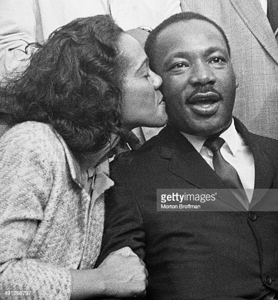 Coretta Scott King kisses her husband Martin Luther King Jr in Montgomery Alabama at the culmination of the Selma to Montgomery March March 25th 1965