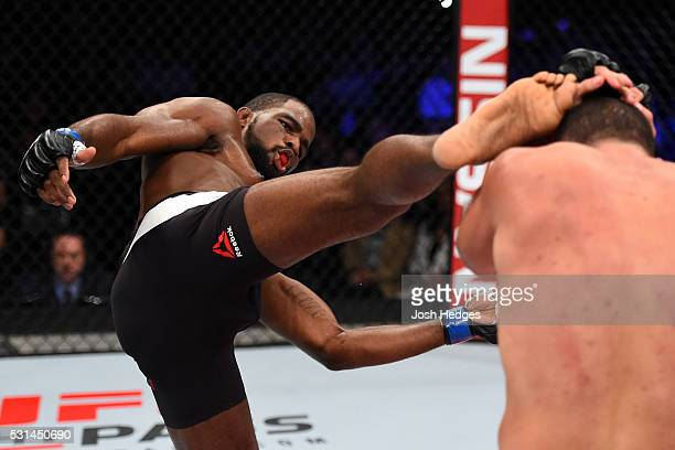 Corey Anderson kicks Mauricio 'Shogun' Rua of Brazil in their light heavyweight bout during the UFC 198 event at Arena da Baixada stadium on May 14...