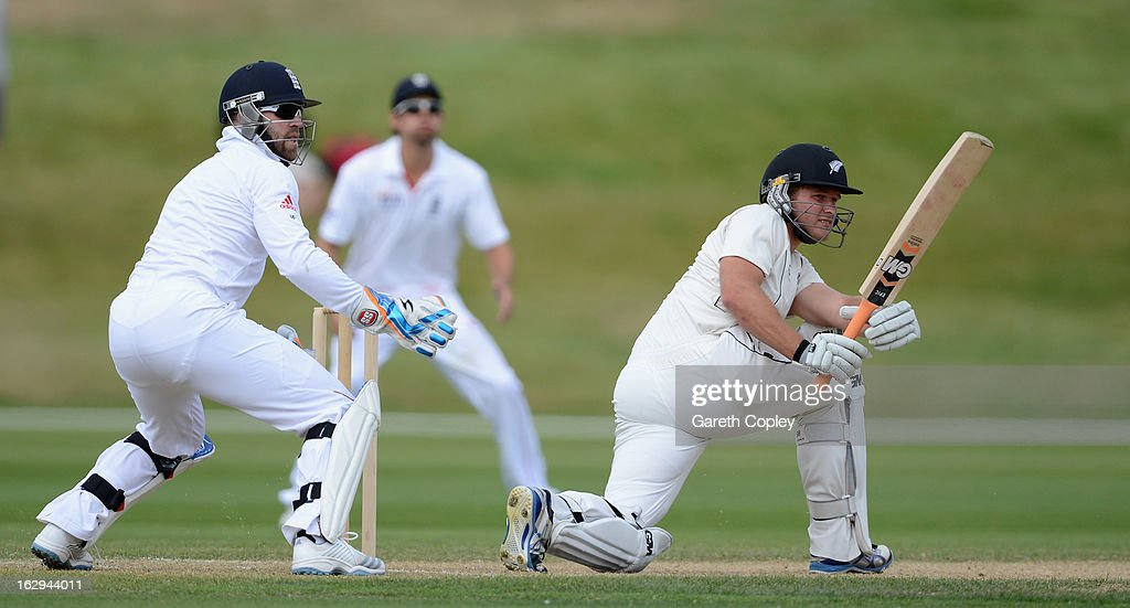 Corey Anderson of a New Zealand XI bats during day four of the International Tour Match between the New Zealand XI and England at Queenstown Events Centre on March 2, 2013 in Queenstown, New Zealand.