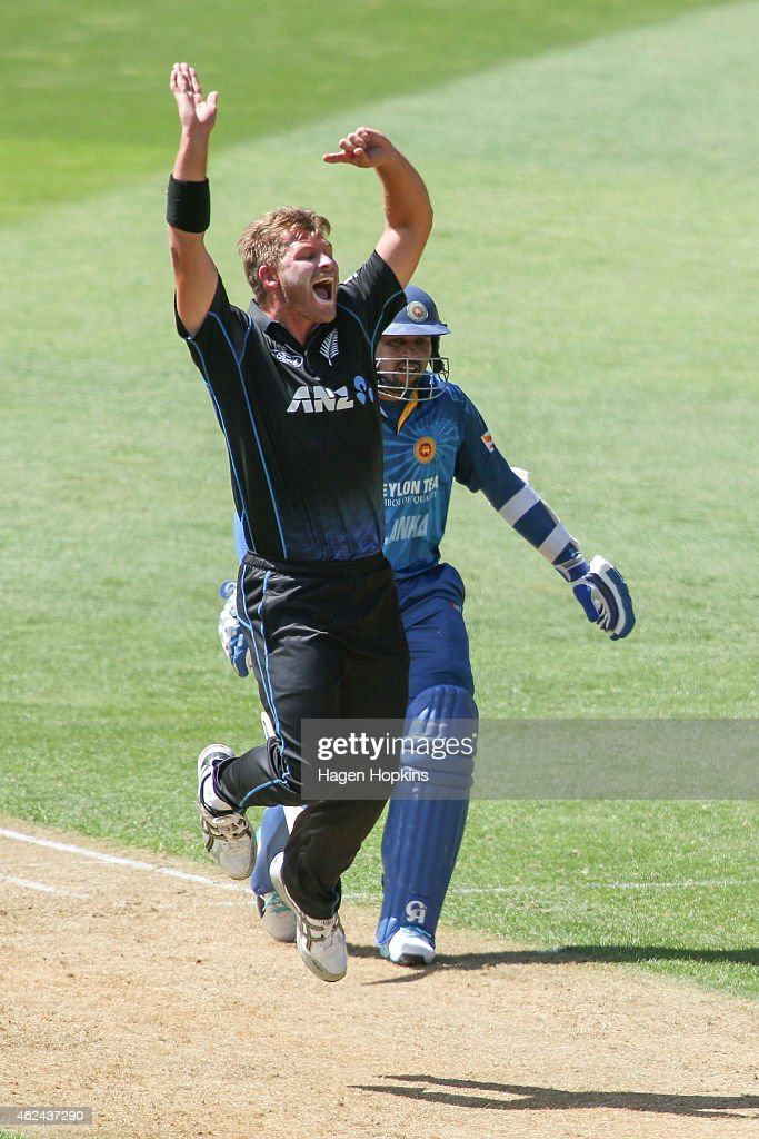 <a gi-track='captionPersonalityLinkClicked' href=/galleries/search?phrase=Corey+Anderson+-+Cricketspeler&family=editorial&specificpeople=12457249 ng-click='$event.stopPropagation()'>Corey Anderson</a> of New Zealand appeals successfully for the wicket of Lahiru Thirimanne of Sri Lanka while <a gi-track='captionPersonalityLinkClicked' href=/galleries/search?phrase=Tillakaratne+Dilshan&family=editorial&specificpeople=239186 ng-click='$event.stopPropagation()'>Tillakaratne Dilshan</a> looks on during the One Day International match between New Zealand and Sri Lanka at Westpac Stadium on January 29, 2015 in Wellington, New Zealand.