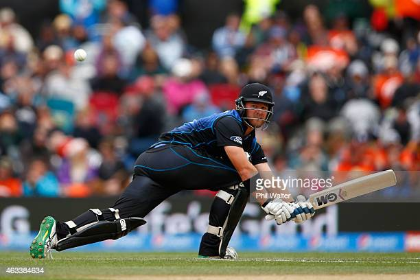 Corey Anderson of New Zealand bats during the 2015 ICC Cricket World Cup match between Sri Lanka and New Zealand at Hagley Oval on February 14 2015...