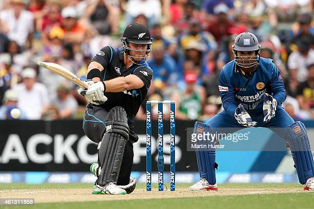 Corey Anderson of New Zealand bats during the One Day International match between New Zealand and Sri Lanka at Hagley Oval on January 11 2015 in...