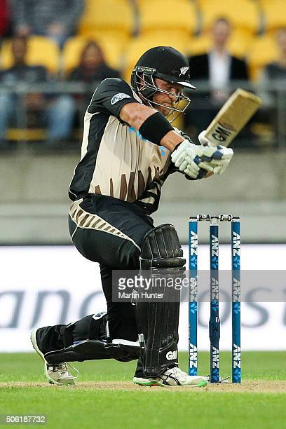 Corey Anderson of New Zealand bats during the Twenty20 International match between New Zealand and Pakistan at Westpac Stadium on January 22 2016 in...
