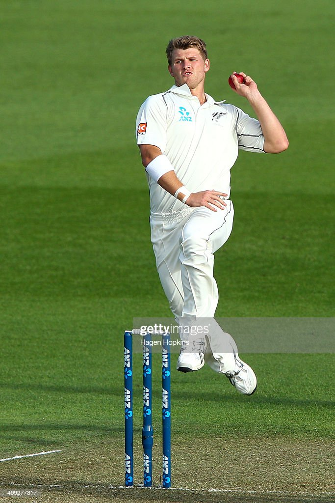 Corey Anderson of New Zealand bowls during day one of the 2nd Test match between New Zealand and India on February 14, 2014 in Wellington, New Zealand.