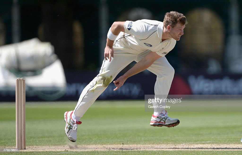 <a gi-track='captionPersonalityLinkClicked' href=/galleries/search?phrase=Corey+Anderson+-+Cricket+Player&family=editorial&specificpeople=12457249 ng-click='$event.stopPropagation()'>Corey Anderson</a> of New Zealand bowls during day three of the tour match between Worcestershire and New Zealand at New Road on May 16, 2015 in Worcester, England.