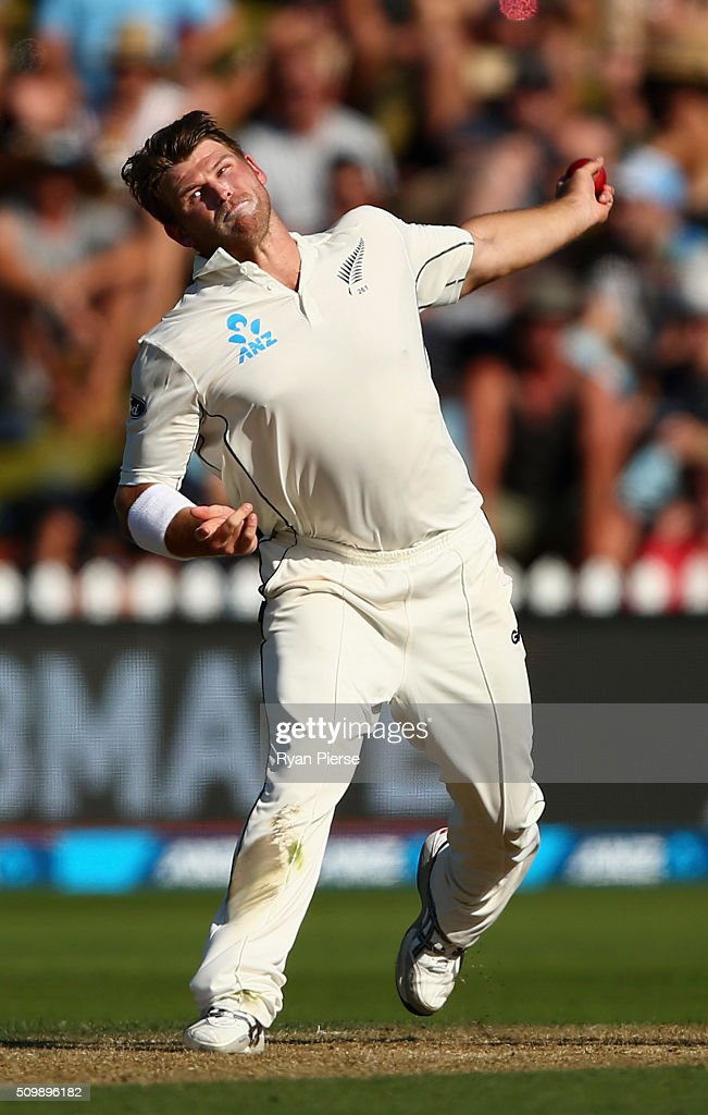 <a gi-track='captionPersonalityLinkClicked' href=/galleries/search?phrase=Corey+Anderson+-+Cricket+Player&family=editorial&specificpeople=12457249 ng-click='$event.stopPropagation()'>Corey Anderson</a> of New Zealand bowls during day two of the Test match between New Zealand and Australia at Basin Reserve on February 13, 2016 in Wellington, New Zealand.