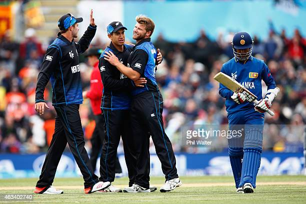 Corey Anderson of New Zealand celebrates his wicket of Nuwan Kulasekara of Sri Lanka during the 2015 ICC Cricket World Cup match between Sri Lanka...