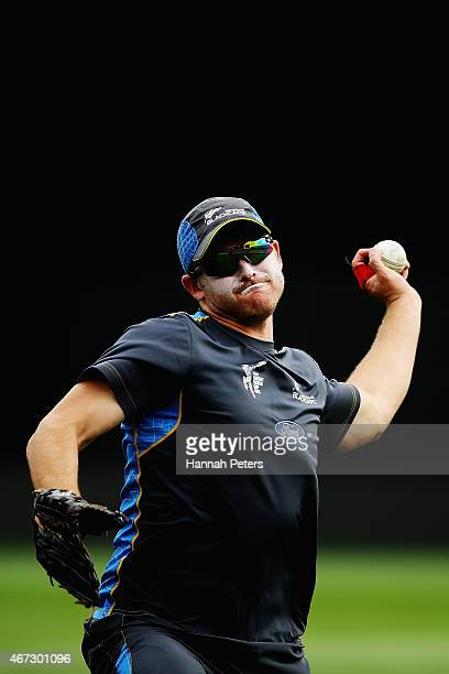 Corey Anderson of New Zealand fields during a New Zealand nets session at Eden Park on March 23 2015 in Auckland New Zealand