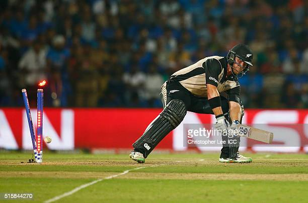 Corey Anderson of New Zealand is bowled out by Jasprit Bumrah of India during the ICC World Twenty20 India 2016 Group 2 match between New Zealand and...