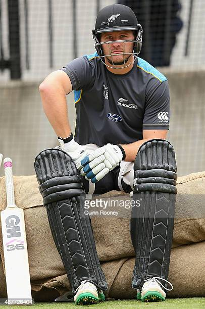 Corey Anderson of New Zealand looks on during a New Zealand nets session at Melbourne Cricket Ground on March 27 2015 in Melbourne Australia