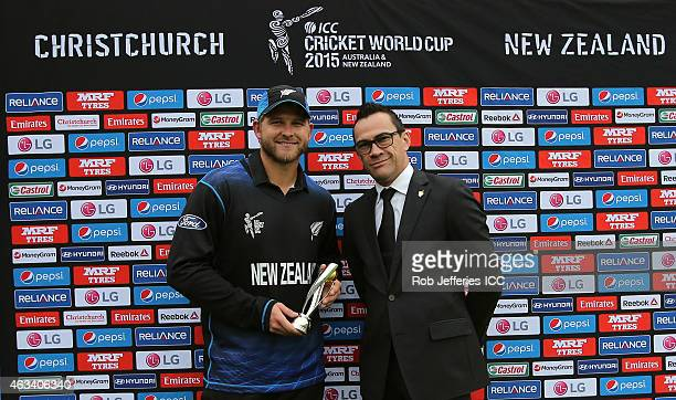 Corey Anderson of New Zealand poses for a photo after being named player of the match during the 2015 ICC Cricket World Cup match between Sri Lanka...