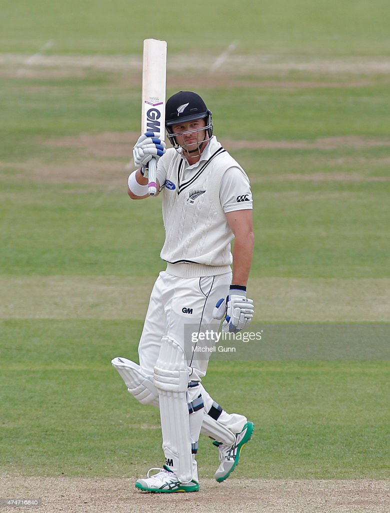 <a gi-track='captionPersonalityLinkClicked' href=/galleries/search?phrase=Corey+Anderson+-+Cricket+Player&family=editorial&specificpeople=12457249 ng-click='$event.stopPropagation()'>Corey Anderson</a> of New Zealand raises his bat and celebrates scoring 50 runs during day five of the 1st Investec Test match between England and New Zealand at Lord's Cricket Ground on May 25, 2015 in London, England.