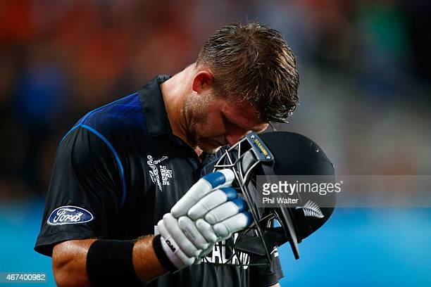 Corey Anderson of New Zealand reacts after going out during the 2015 Cricket World Cup Semi Final match between New Zealand and South Africa at Eden...