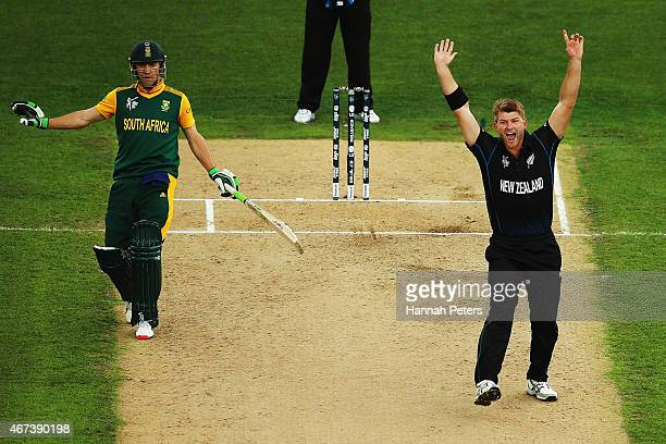 Corey Anderson of New Zealand sucessfully appeals for the wicket of Francois du Plessis of South Africa during the 2015 Cricket World Cup Semi Final...