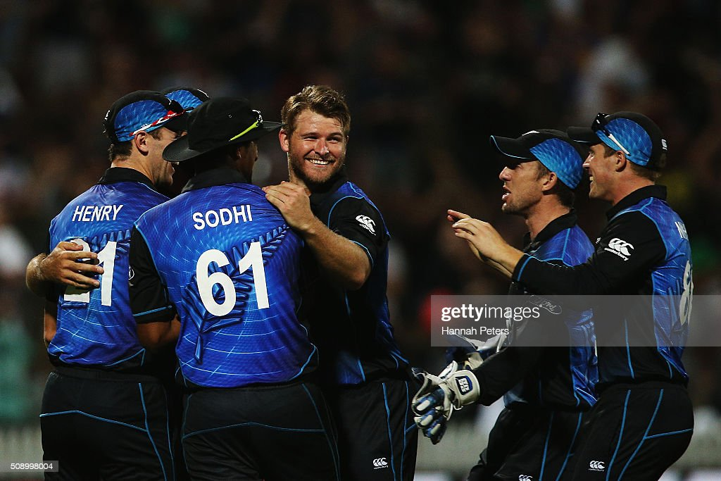 <a gi-track='captionPersonalityLinkClicked' href=/galleries/search?phrase=Corey+Anderson+-+Cricketspeler&family=editorial&specificpeople=12457249 ng-click='$event.stopPropagation()'>Corey Anderson</a> of the Black Caps celebrates the wicket of Josh Hastings of Australia during the 3rd One Day International cricket match between the New Zealand Black Caps and Australia at Seddon Park on February 8, 2016 in Hamilton, New Zealand.