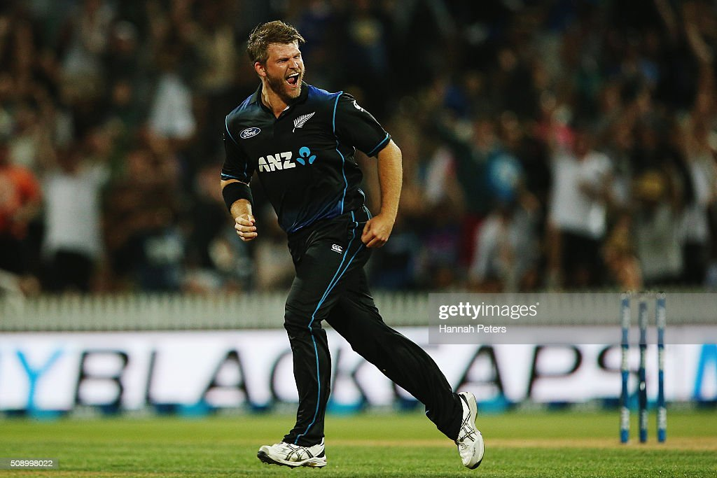 <a gi-track='captionPersonalityLinkClicked' href=/galleries/search?phrase=Corey+Anderson+-+Cricketspelare&family=editorial&specificpeople=12457249 ng-click='$event.stopPropagation()'>Corey Anderson</a> of the Black Caps celebrates the wicket of Josh Hastings of Australia during the 3rd One Day International cricket match between the New Zealand Black Caps and Australia at Seddon Park on February 8, 2016 in Hamilton, New Zealand.