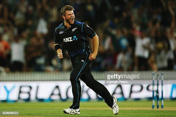 Corey Anderson of the Black Caps celebrates the wicket of Josh Hastings of Australia during the 3rd One Day International cricket match between the...