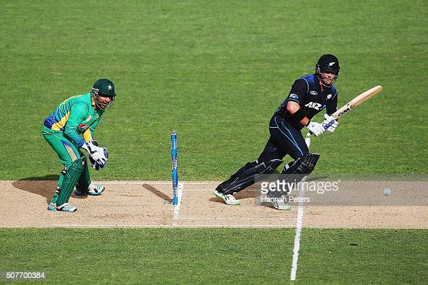 Corey Anderson of the Black Caps plays the ball away during the One Day International match between New Zealand and Pakistan at Eden Park on January...