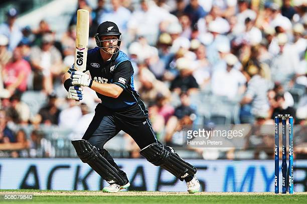 Corey Anderson of the Black Caps plays the ball away for four runs during the One Day International match between New Zealand and Australia at Eden...