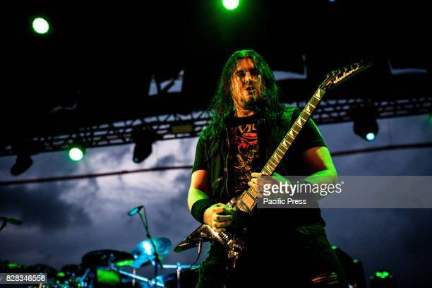 Corey Beaulieu of the american metal band Trivium pictured on stage as the perform live at Carroponte Milan Italy