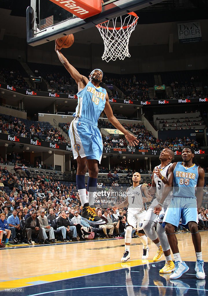 Corey Brewer #13 of the Denver Nuggets dunks against the Memphis Grizzlies on November 19, 2012 at FedExForum in Memphis, Tennessee.
