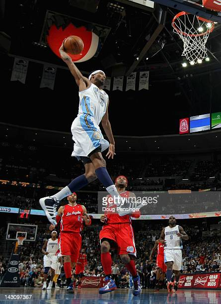 Corey Brewer of the Denver Nuggets dunks the ball against the Los Angeles Clippers at Pepsi Center on April 18 2012 in Denver Colorado The Clippers...