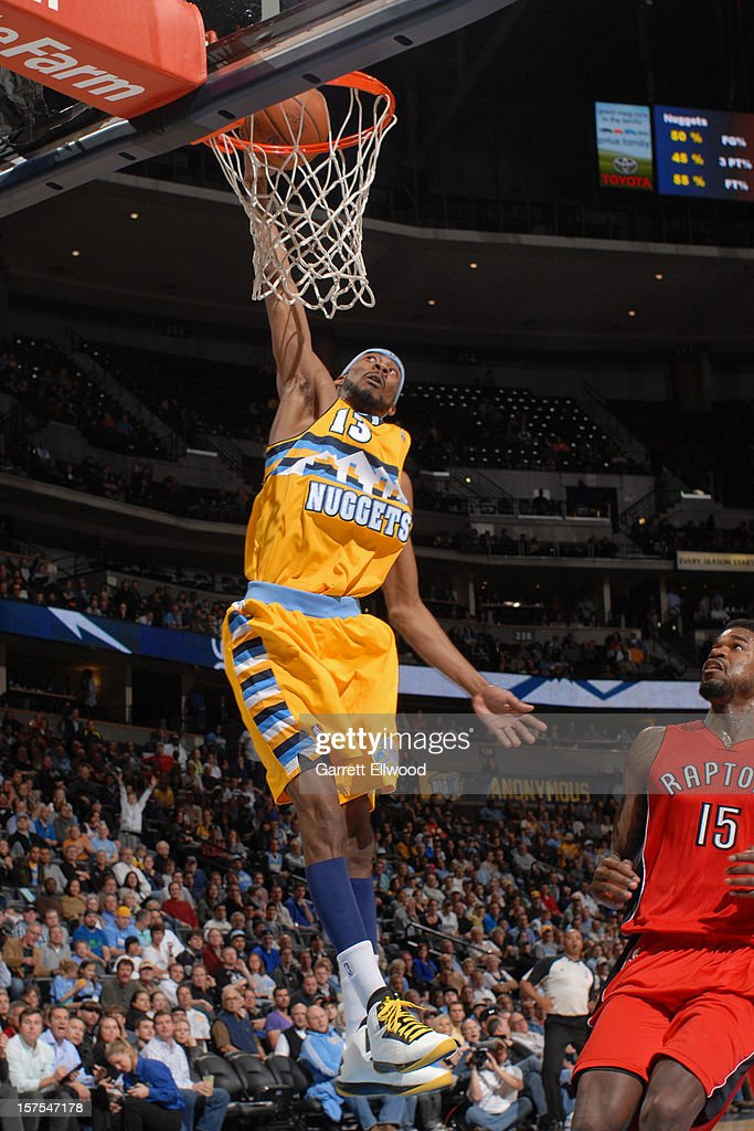 Corey Brewer #13 of the Denver Nuggets dunks the ball against the Toronto Raptors on December 3, 2012 at the Pepsi Center in Denver, Colorado.